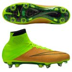 Nike Mercurial Superfly Leather SG-PRO SR золотисто-салатовые