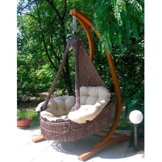 Подвесное кресло КАРТАХЕНА с подушками (бежево-коричневый). Без каркаса.