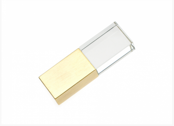16GB USB-флэш накопитель Apexto UG-003 стеклянный, синий LED, золотой колпачек