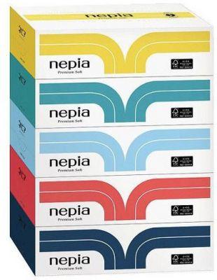 Японские салфетки бумажные NEPIA Premium Soft, 180шт*5 пачек