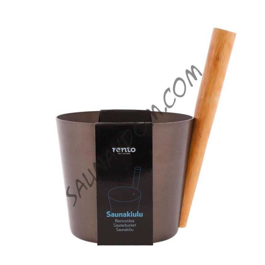 Ведро алюминиевое с бамбуковой ручкой Rento, цвет какао
