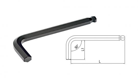 Ключ 6-гранный Г-образный с окр. наконечником 1.5мм