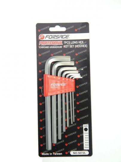 Набор ключей 6-гранных Г-образных длинных 7пр. (2.5, 3-6, 8, 10мм) в пластиковом держателе