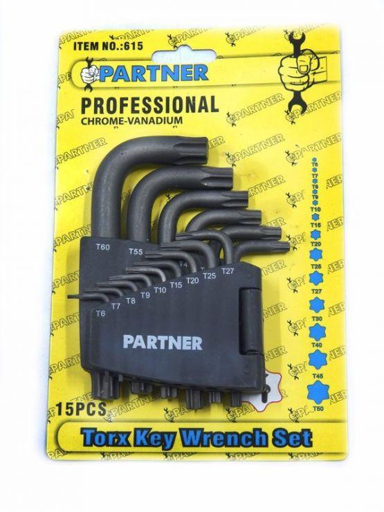 Набор ключей торкс Г-образных  усиленных 15пр.(T10-T50) в пластиковом держателе