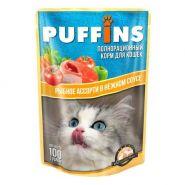 PUFFINS Для кошек Рыбное ассорти в соусе (100 г)