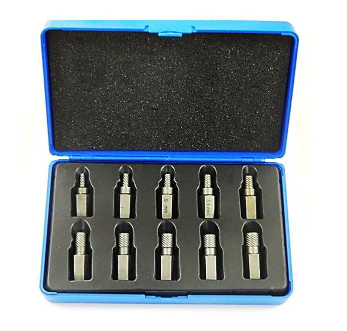 Набор бит-экстракторов для извлечения поврежденных болтов 10пр. (M3.5-M4-M5-M6-M6.5-M7.5-M8-M9-M10-M11)