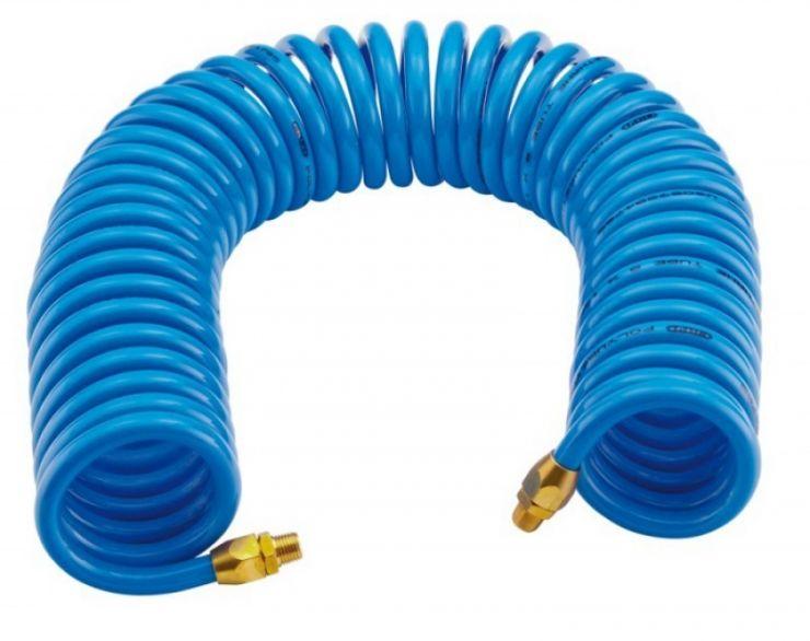 Шланг витой полиуретановый 6.5 х 10мм х 15м с резьбовыми наконечниками 1/4' (для воздуха)
