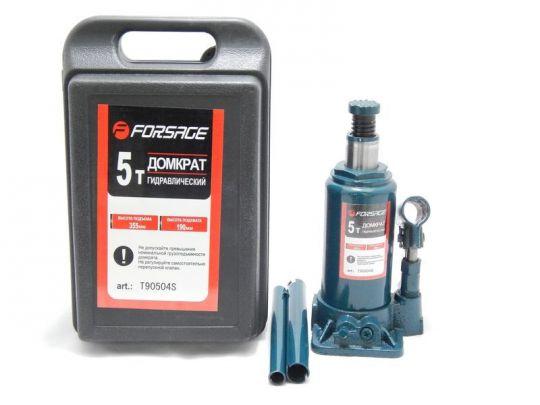 Домкрат бутылочный  5 т с клапаном в кейсе (h min 216мм, h max 413мм)