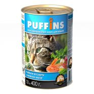 PUFFINS Кусочки в желе Рыбное ассорти (400 г)