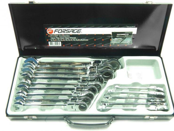 Набор ключей комбинированных трещоточных с шарниром 14пр.(8,10,11-19,21,22,24)в металлическом кейсе