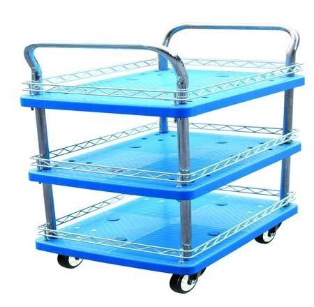 Тележка пластиковая складская трехполочная (г/п 150кг)