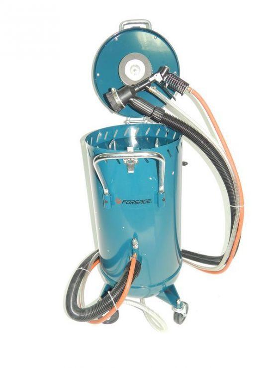 Передвижной пескоструйный аппарат инжекторного типа с электродвигателем для ваккума 220В(бак 75л,170-710л/мин, 4-8,5атм) пневмо.