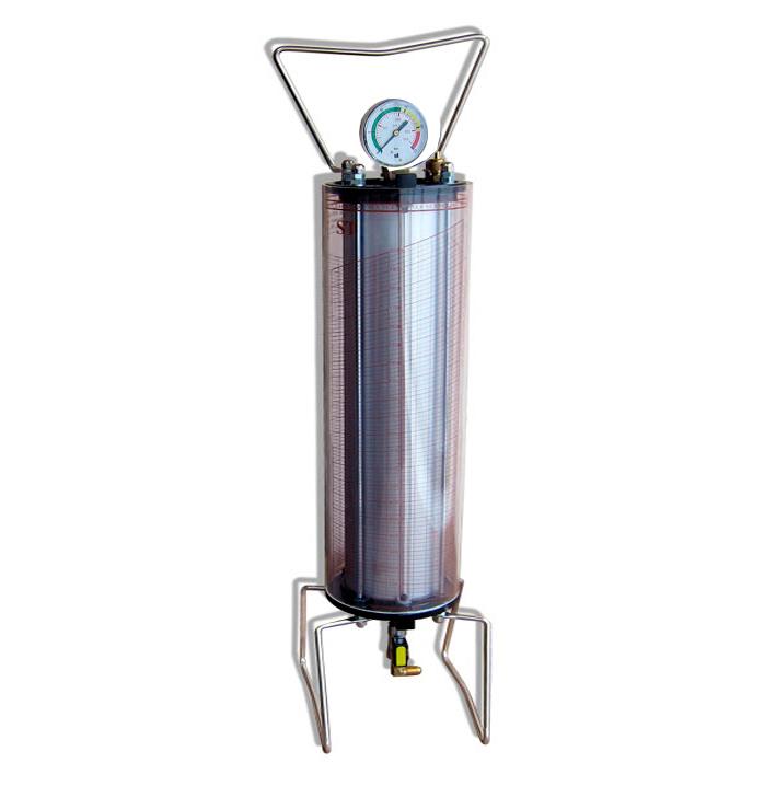 Зарядная колба, вместимость 4 кг  с мерной шкалой для хладагентов R-134a, R-507, 404a. Верхняя часть колбы оснащена манометром для контроля давления от 0 до 25 бар, предохранительным клапаном, срабатывающим при превышении допустимого давления, ручкой для