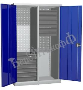 Металлический инструментальный шкаф PROFFI с перегородкой, 12 ящиков.