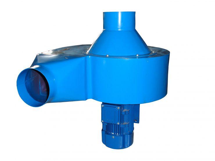 Вентилятор центробежный для вытяжки выхлопных газов. Производительность: 2430 м³/час, двигатель: 1,1kW/380V, входное/выходное сечение:160мм