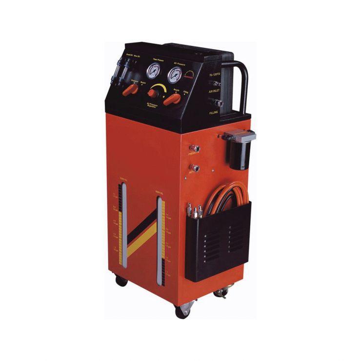 Установка для промывки и замены масла в автоматических коробках передач пневматическая. Для дизельных и бензиновых двигателей. Рабочее давление: 70-90PSI.  В комплекте: кейс со шлангами, адаптерами и переходниками для подключения.