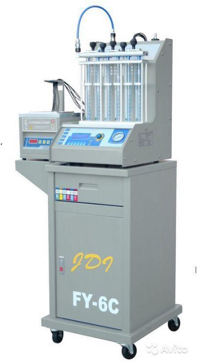 Многофункциональный комплекс FY-6C для  очистки  до 6-и бензиновых форсунок всех типов. Автоматические циклы тестов форсунок. Ультразвуковая чистка форсунок.