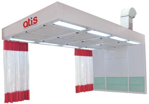 Пост подготовки к окраске с подогревом воздуха и с боковым забором воздуха.  Размер наружн.: 7.2*3.5*3.2м, Внутр.: 6.0*3.5*2.7м. верхний пленум размером 6000х3500х400 мм с освещением - 8 светильников  4 х 36Вт ,  боковые и фронтальные шторы. Воздухообмен