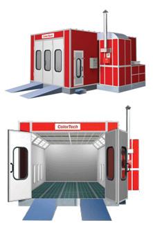 Сушильно-окрасочная камера.  Внутренние размеры (ДШВ): 6 x 3,8 x 2,5 м.  Производительность: 18 000 м3/ч.  Горелка: Riello RG 4S, мощность 237 кВт.  Трехстворчатая въездная дверь с встроенной сервисной дверью, металлическое основание для установки камеры