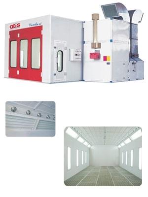 Окрасочно-Сушильная Камера.  Размер наружн.: 7.0*5.3*3.5м, Внутр.: 6.9*3.9*2.7м, Ворота трехстворчатые 3,0х2,7м; Освещение: верхний уровень - 40 ламп по 36Вт, нижний уровень 16 ламп по 36Вт; Воздухообмен: 30000 м³; Горелка RIELLO, тепловая мощность 300 кВ