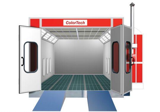 Сушильно-окрасочная камера.  Внутренние размеры (ДШВ): 9 x 4,5 x 3,97 м.  Производительность: 36000 м3/ч.  Горелка: Riello RG5D, мощность 307 кВт.  Одна линия решеток, четырехстворчатая въездная дверь, боковая сервисная дверь, система рециркуляции в режим