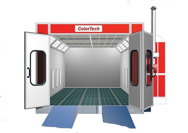 Сушильно-окрасочная камера для коммерческого транспорта  Внутренние размеры (ДШВ): 12 x 5 x 5 м.  Производительность: 2 х 24000=48000 м3/ч.  Горелка: 2 х Riello, мощность 307 кВт.  Одна линия решеток, четырехстворчатая въездная дверь, 2 х боковая сервисна