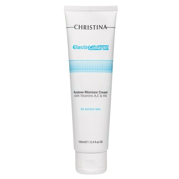 Увлажняющий крем c витаминами А, Е и гиалуроновой кислотой для нормальной кожи лица Эластин, коллаген, азулен Christina (Кристина) 100 мл