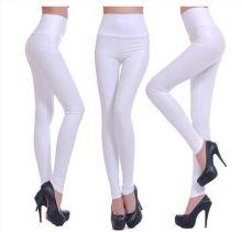 Женские леггинсы кожаные Белые