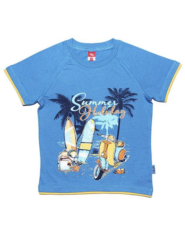 Голубая футболка Летний отдых для мальчика 3 лет
