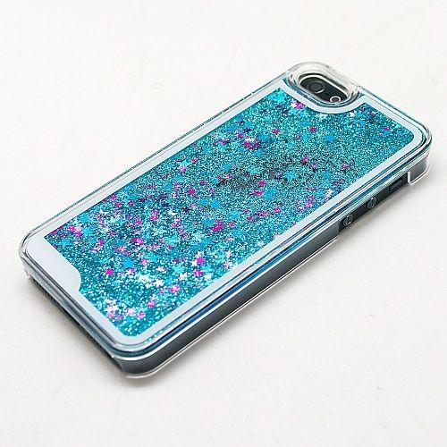 Чехол с блестками для iphone 7/8 (голубой)