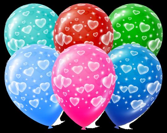 Маленькие Сердечки яркие латексные шары с гелием