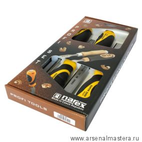 Набор из плоских стамесок с ручкой Narex SUPER 2009 LINE PROFI (6,12,20,26 мм)  4 шт в картонной коробке 860600