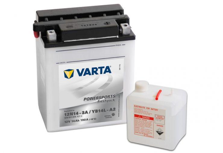 Мото аккумулятор АКБ VARTA (ВАРТА) FP 514 011 014 А514 12N14-3A YB14L-A2 14Ач о.п.
