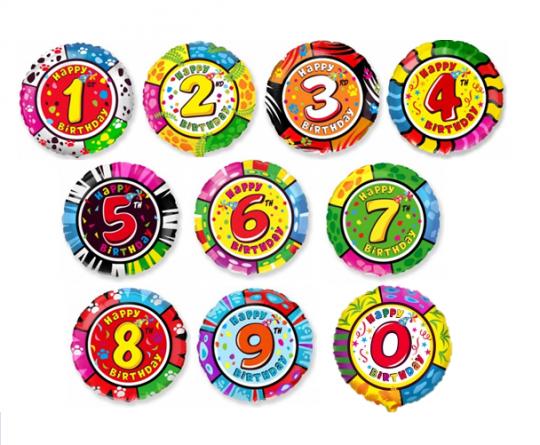 Цифры 0-9 круглый шар фольгированный с гелием