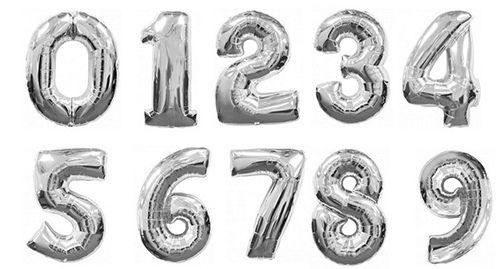 Цифры серебряные фольгированные шары с гелием