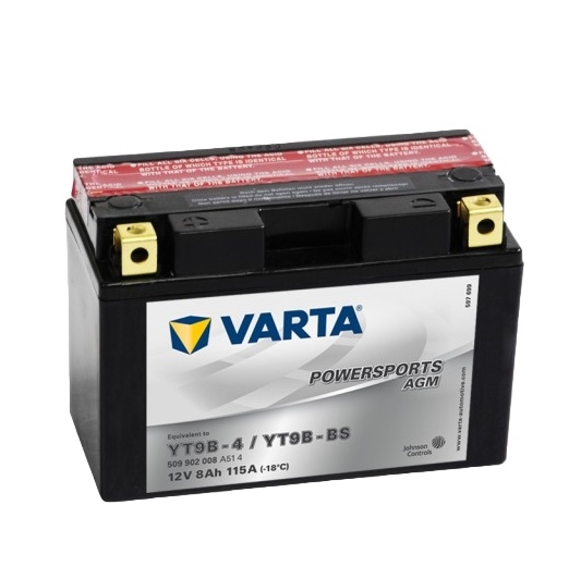 Мото аккумулятор АКБ VARTA (ВАРТА) AGM 509 902 008 A514 YT9B-4 / YT9B-BS 8Ач п.п.