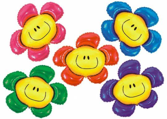 Цветок-смайл (4 цвета) фольгированный шар с гелием