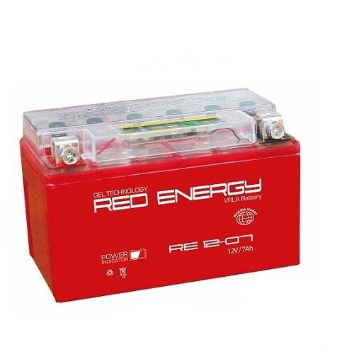 Аккумуляторная батарея АКБ RED ENERGY (РЭД ЭНЕРДЖИ) GEL 1207 YTX7A-BS 7Ач п.п.