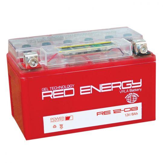 Аккумуляторная батарея АКБ RED ENERGY (РЭД ЭНЕРДЖИ) GEL DS 1208 YT7B-BS, YT7B-4 8Ач п.п.