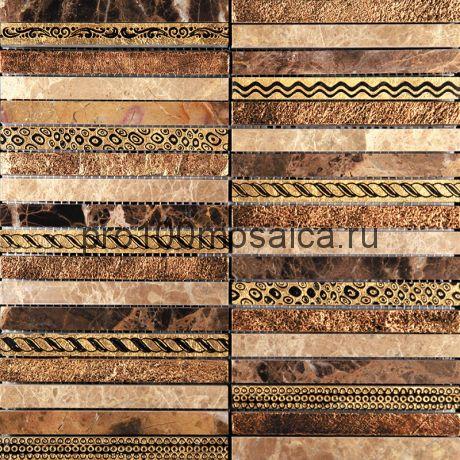 GLN-5. Мозаика 15*148*10, серия GOLDEN LINE,  размер, мм: 300*300 (Skalini)