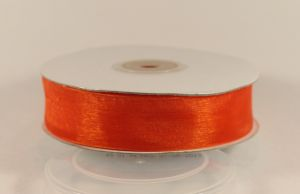 `Лента, органза, ширина 25 мм, цвет оранжевый