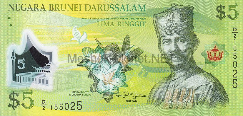 Банкнота Бруней 5 долларов 2011 год