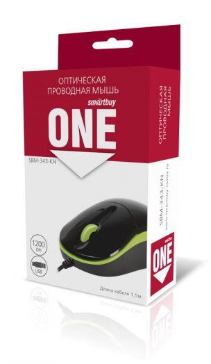 Мышь проводная Smartbuy ONE 343 черно-зеленая USB