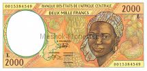Банкнота Габон 2000 франков 2000 - 2002 год