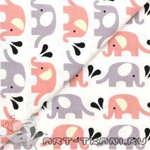 Ткань хлопковая 100% слоники