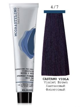 Elgon MODA&STYLING Перманентная крем-краска 4/7 Каштановый фиолетовый