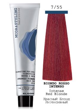 Elgon MODA&STYLING Перманентная крем-краска 7/55 Блонд интенсивно-красный
