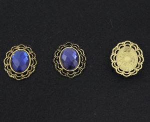 Кабошон со стразой, овал, цвет основы - медь, стразы - синий, 29х24 мм (1уп = 10шт), Арт. КБС0077
