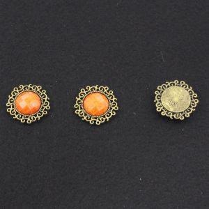 Кабошон со стразой, круглый, цвет основы - медь, стразы - оранжевый мрамор, 24 мм (1уп = 10шт)