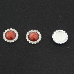 Кабошон со стразами, круглый, цвет основы - серебро, стразы - коричневый мрамор, 20 мм (1уп = 10шт)